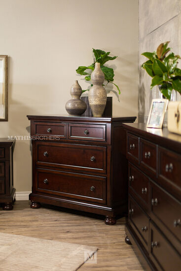 "41"" Traditional Paneled Media Chest in Dark Cherry"