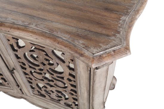 """36"""" Scrollwork Insert Traditional Entertainment Console in Warm Pecan"""