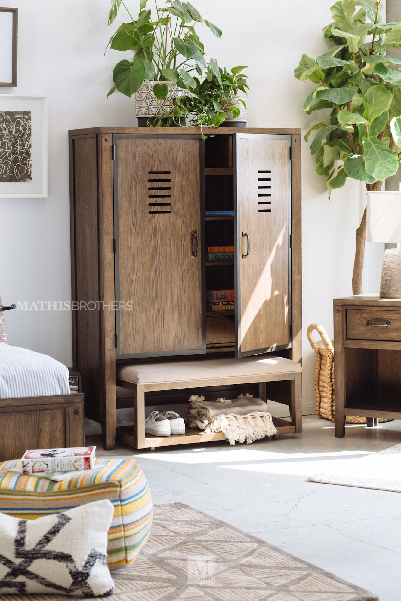 Contemporary Youth Bedroom Bench in Brown | Mathis ...