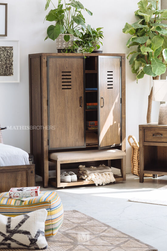 Two-Piece Youth Locker-Door Chest & Bench in Oiled Oak