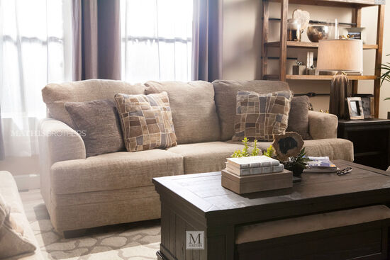"Chenille Contemporary 91"" Sofa in Sisal"