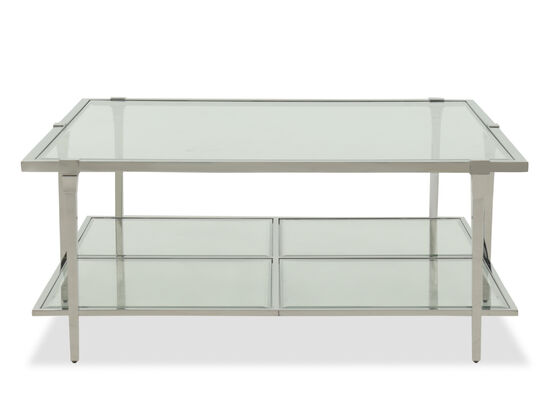 Tempered Glass Cocktail Modern Cocktail Table in Silver