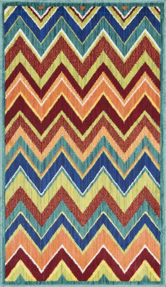 """Contemporary 1'-7""""x2'-6"""" Rug in Teal/Multi"""