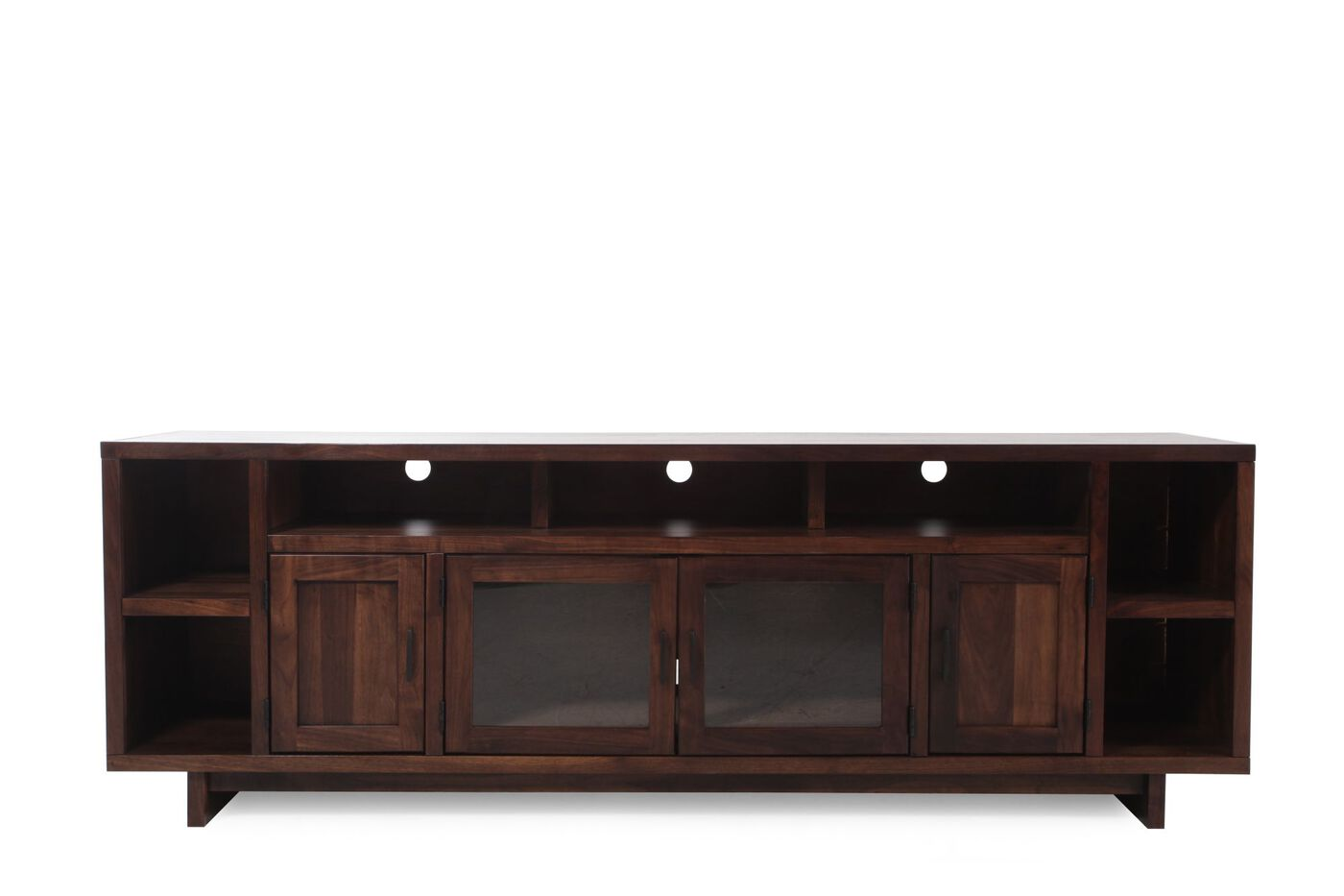 Contemporary Open Compartments Console In Dark Walnut Mathis Brothers Furniture