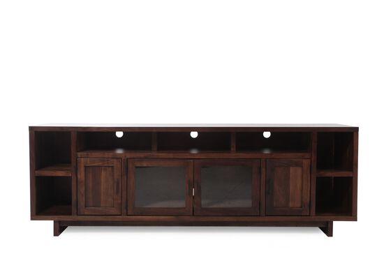 Contemporary Open Compartments Console in Dark Walnut