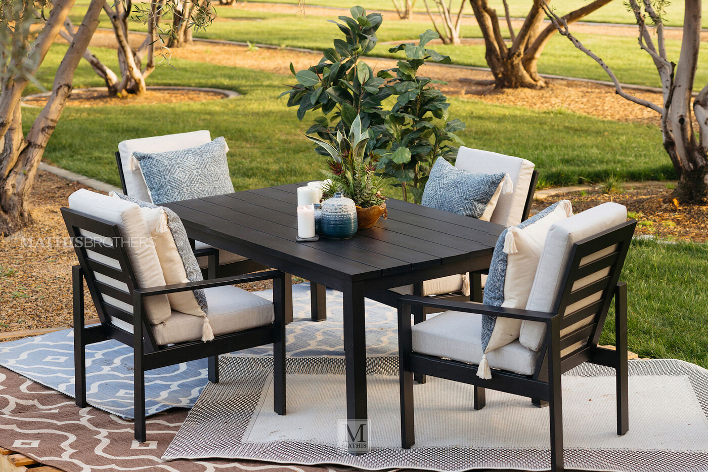 72 Quot Modern Aluminum Patio Dining Table In Black Mathis