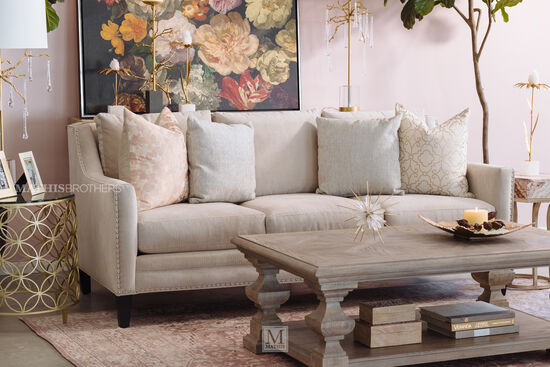 """Contemporary Nailhead-Accented 83"""" Sofa in Beige"""