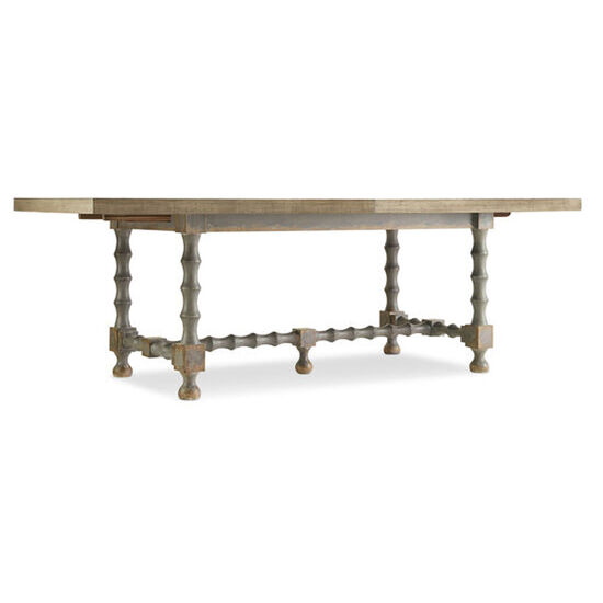 "Ciao Bella 84"" Trestle Table W/ 2-18"" Leaves in Gray"