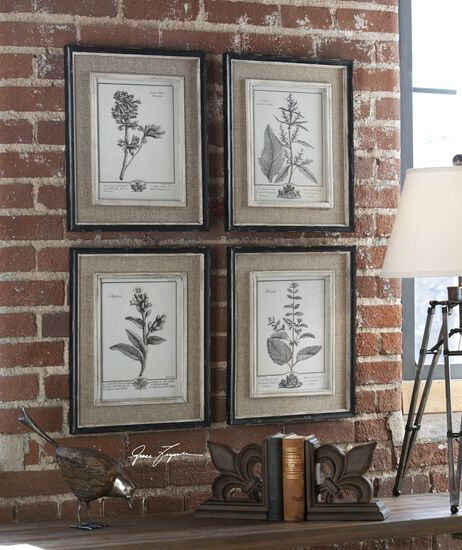 Four-Piece Framed Floral Wall Art Set in Gray/Taupe