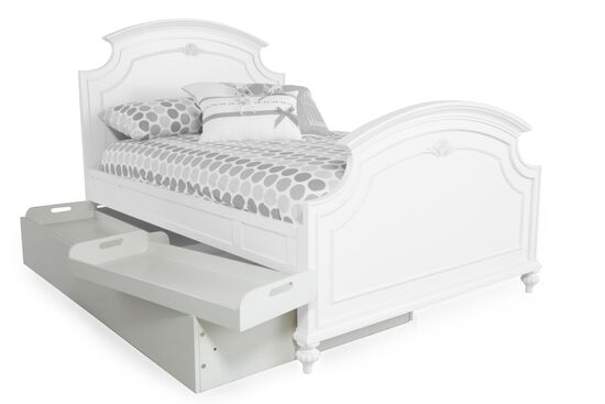 Traditional Youth Trundle Unit with Storage Trays in White
