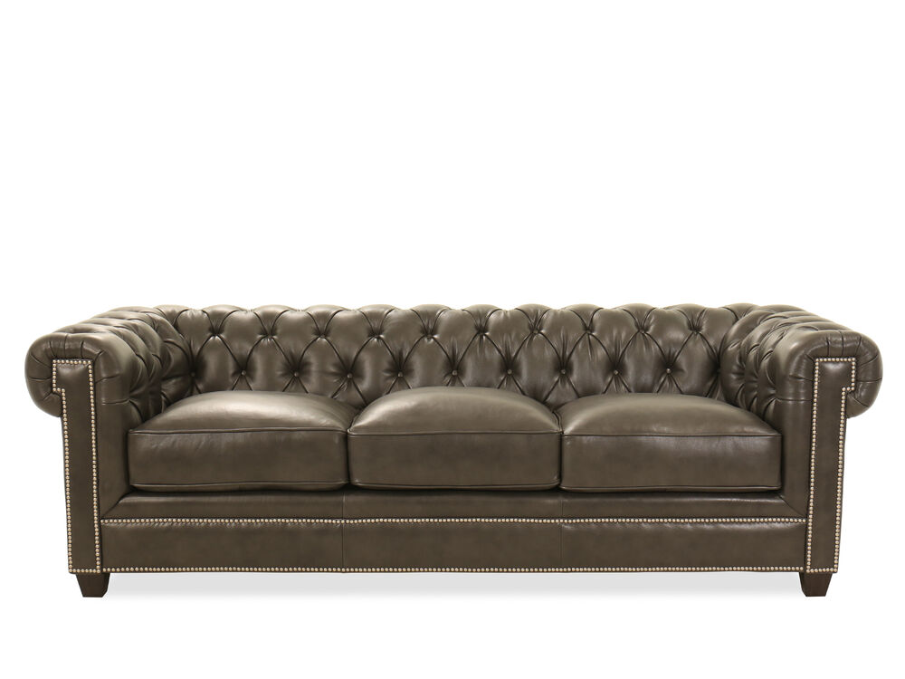 94 Nailhead Accented Leather Chesterfield Sofa In Milano Midnight
