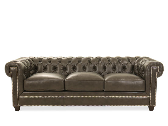 "94"" Nailhead-Accented Leather Chesterfield Sofa in Milano Midnight"