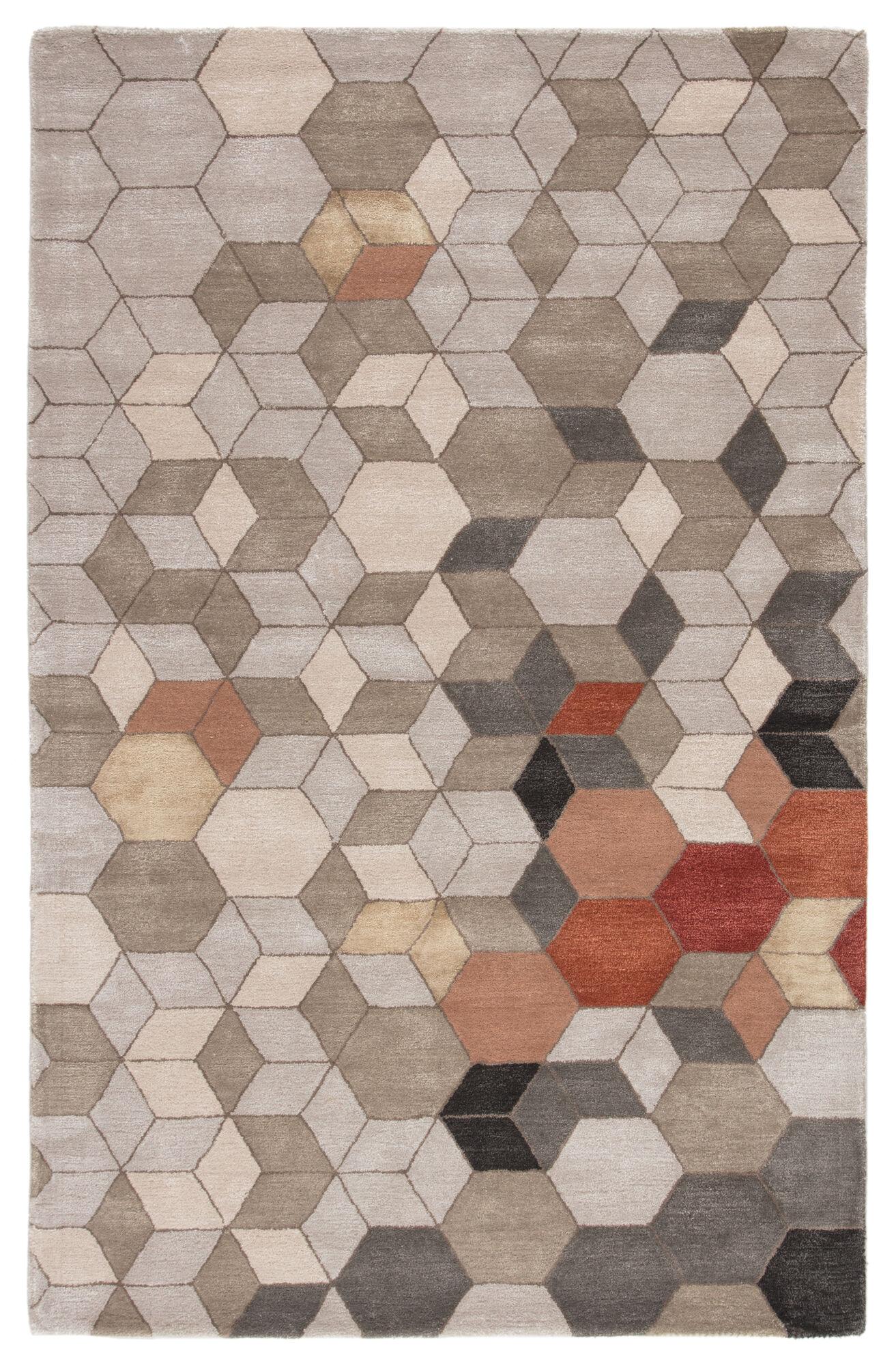 Combs Handmade Geometric Light Gray Orange Area Rug 5 X8 Mathis Brothers Furniture