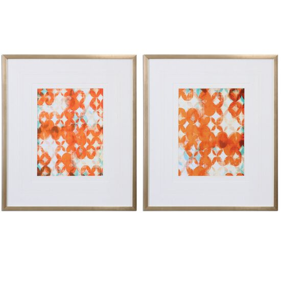 Two-Piece Framed Abstract Printed Wall Art Set in Teal/Orange