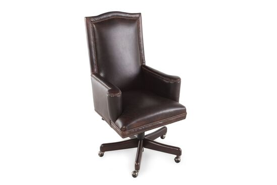 Leather Nailhead-Trimmed Desk Swivel Tilt Chair in Russet Brown