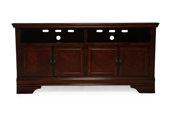 Four-Door Traditional TV Stand in Brown Cherry
