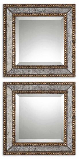 "Two-Piece 18"" Paneled Accent Mirrors in Antique Gold"