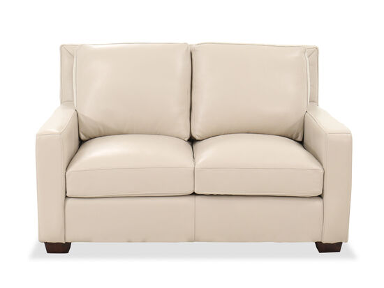 Casual Leather 60''Loveseat in Pebble Bone