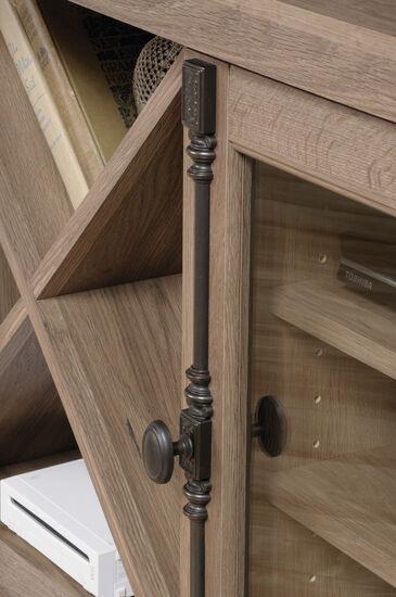 Tempered Glass Door Corner TV Stand in Salt Oak