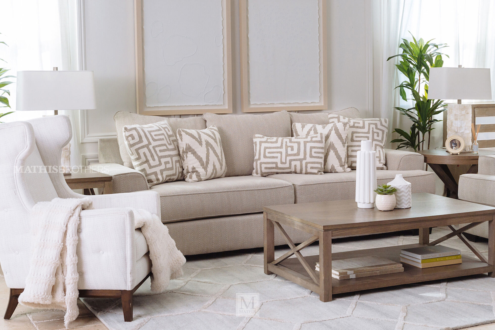 Contemporary Textured Sofa Greige Mathis Brothers Furniture