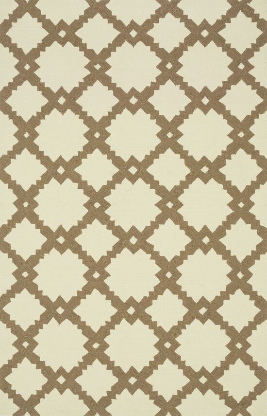 "Indoor/Outdoor 7'-6""x9'-6"" Rug in Ivory/Taupe"