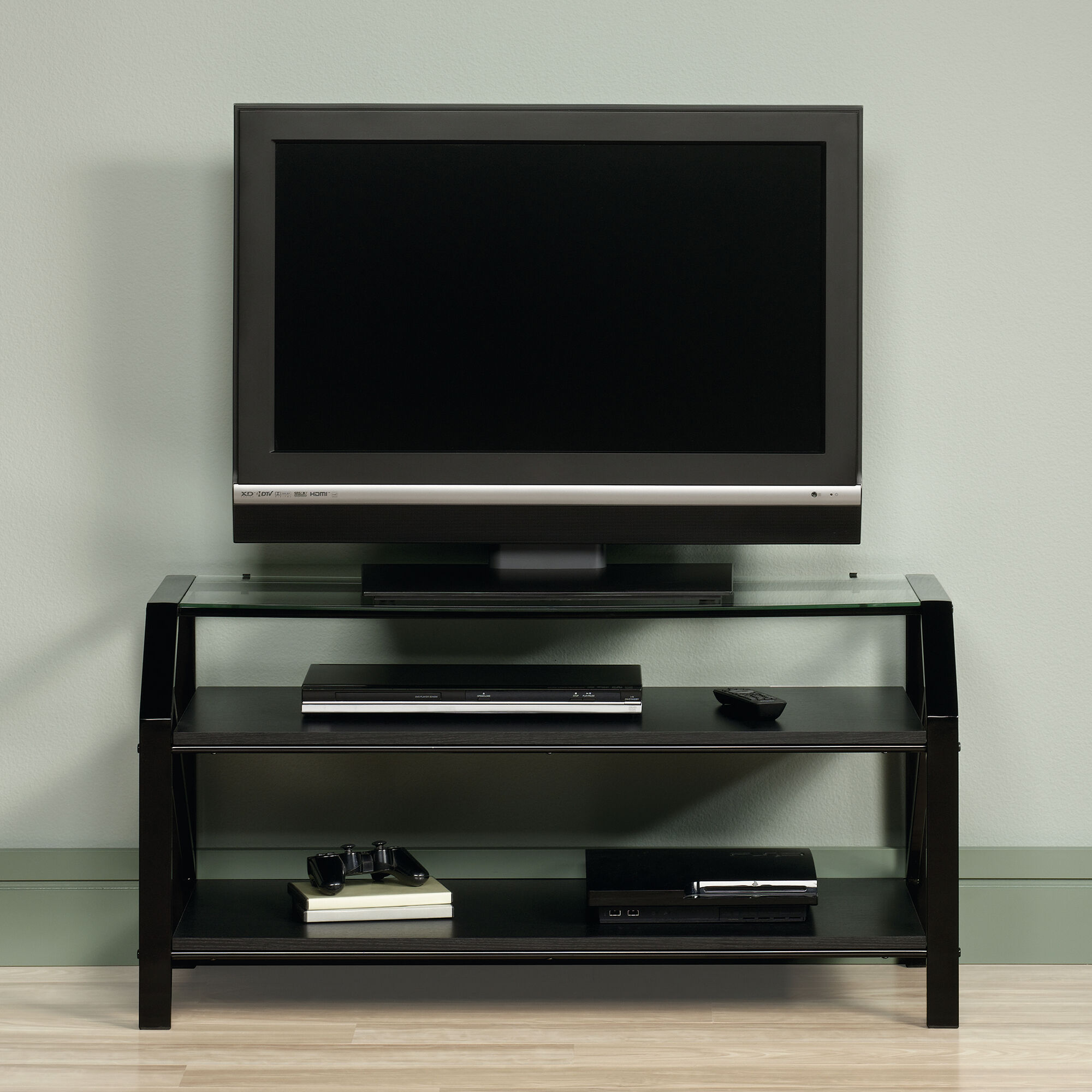 Steel Frame Casual Panel Tv Stand In Black Mathis Brothers Furniture