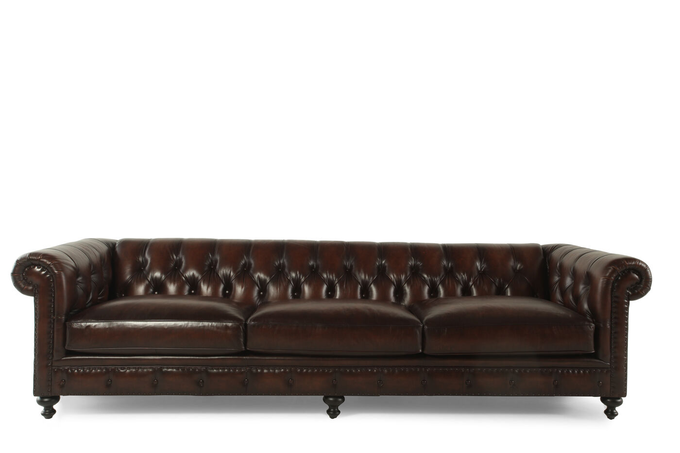 Button tufted leather 116 5 sofa in molasses mathis for Where to buy bernhardt furniture online