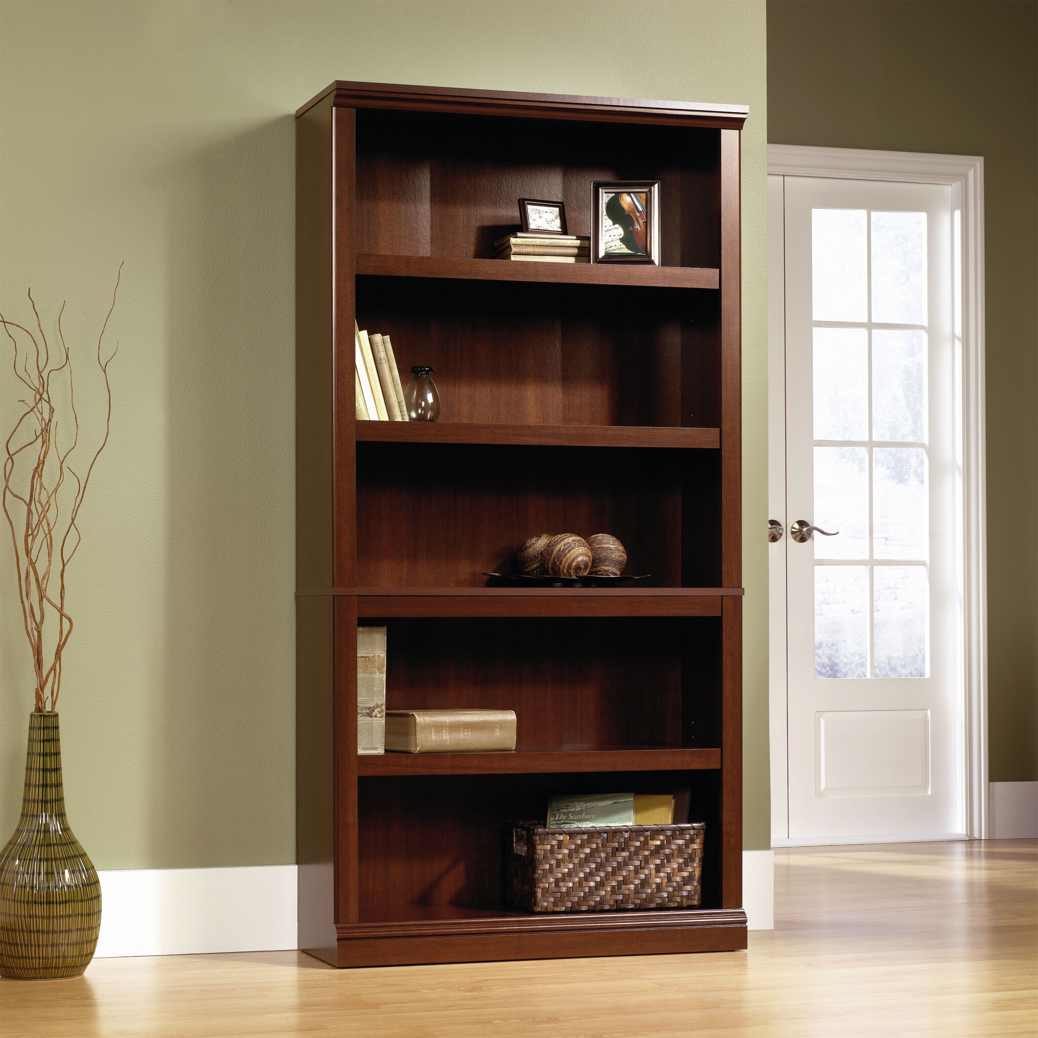 Images Transitional Adjustable Shelf Bookcase In Select Cherry