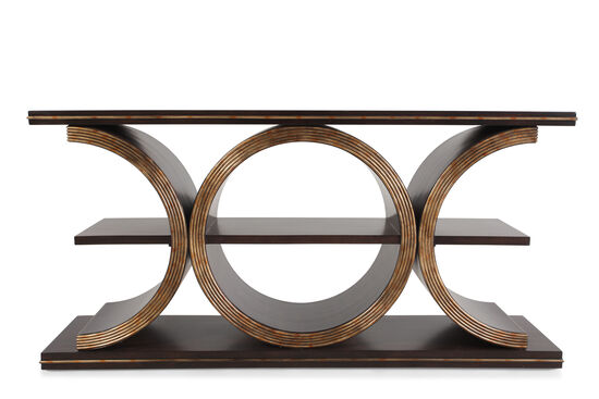 Geometric Body Transitional Console Table in Brown