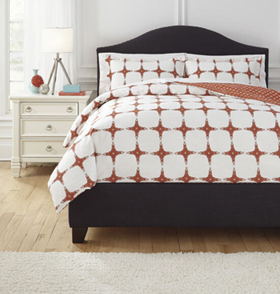 Three-Piece Square Patterned Queen Duvet Cover Set in Orange