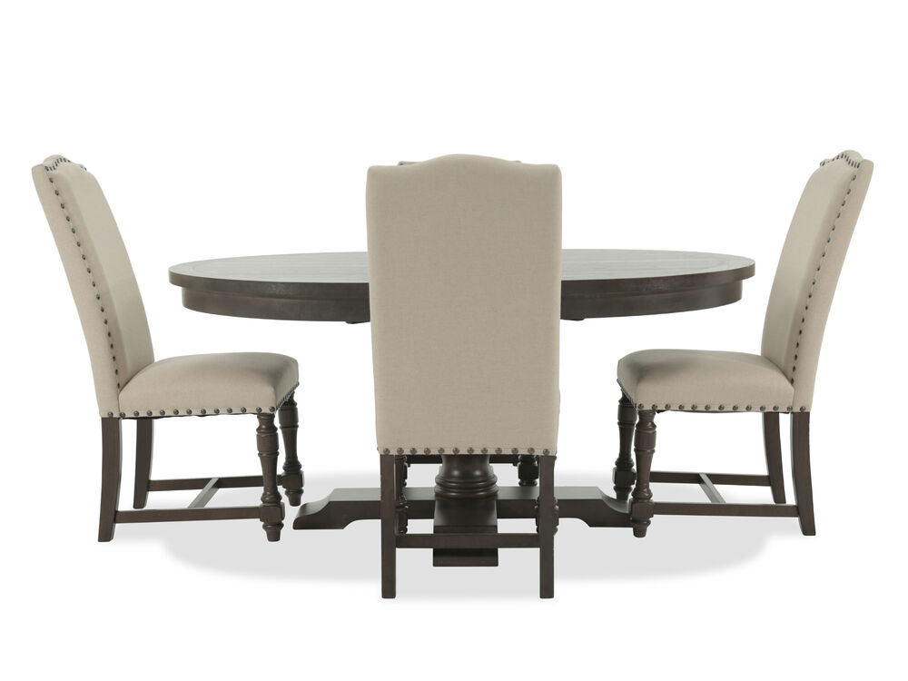 Five-Piece Solid Wood Traditional Round Extension 48'' to 66'' Dining Set in Dark Espresso