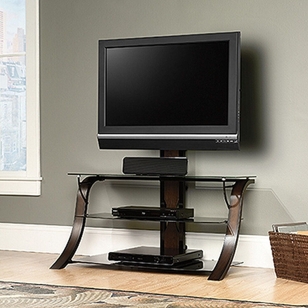 Tempered Glass Shelf Traditional Tv Stand With Mount In Dark Cherry