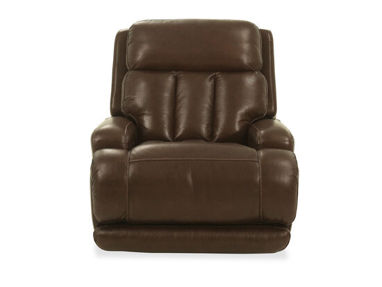 Leather Power Headrest Glider Recliner in Coffee
