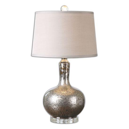 Mottled Mercury Glass Table Lamp in Silver