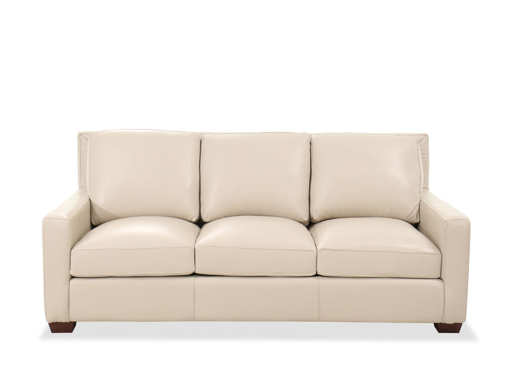 Casual Leather 84 Sofa In Pebble Bone
