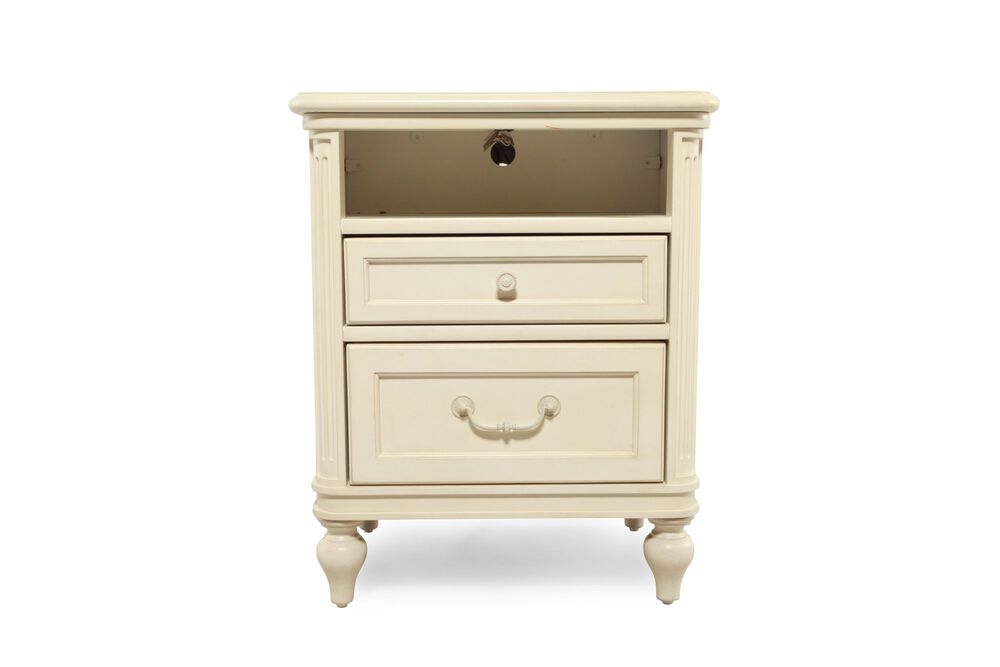 Traditional Fluted Two-Drawer Youth Nightstandin White
