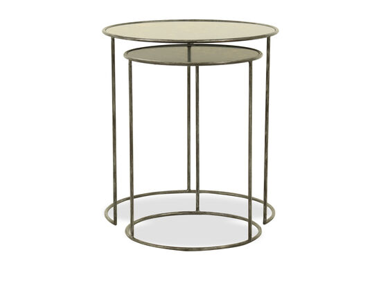 Two-Piece Mid-Century Modern Distressed Nesting Tables in Black