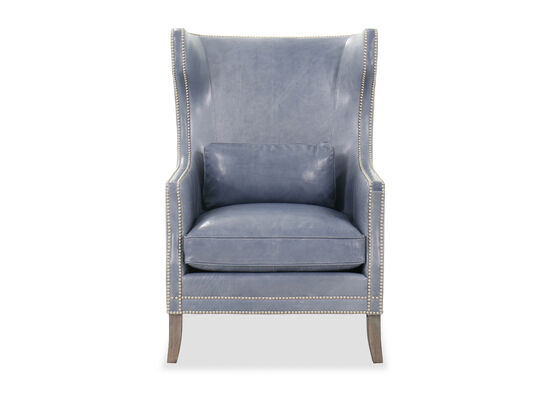 """31"""" Leather Nailhead Accented Wingback Chair in Blue"""