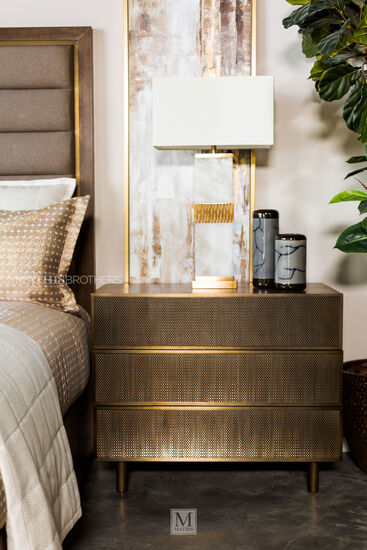 "29.5"" Modern Three-Drawer Nightstand in Tapestry Gold"