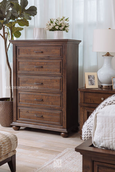 "53"" Transitional Five-Drawer Chest in Dark Brown"