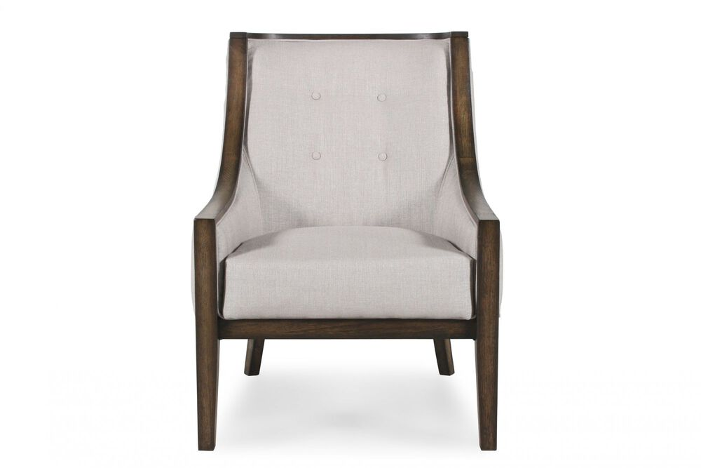 Button-Tufted Contemporary Chair in Cream