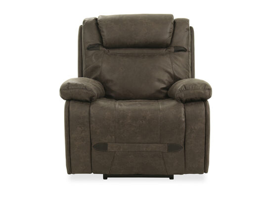 Leather 39'' Power Recliner in Grey