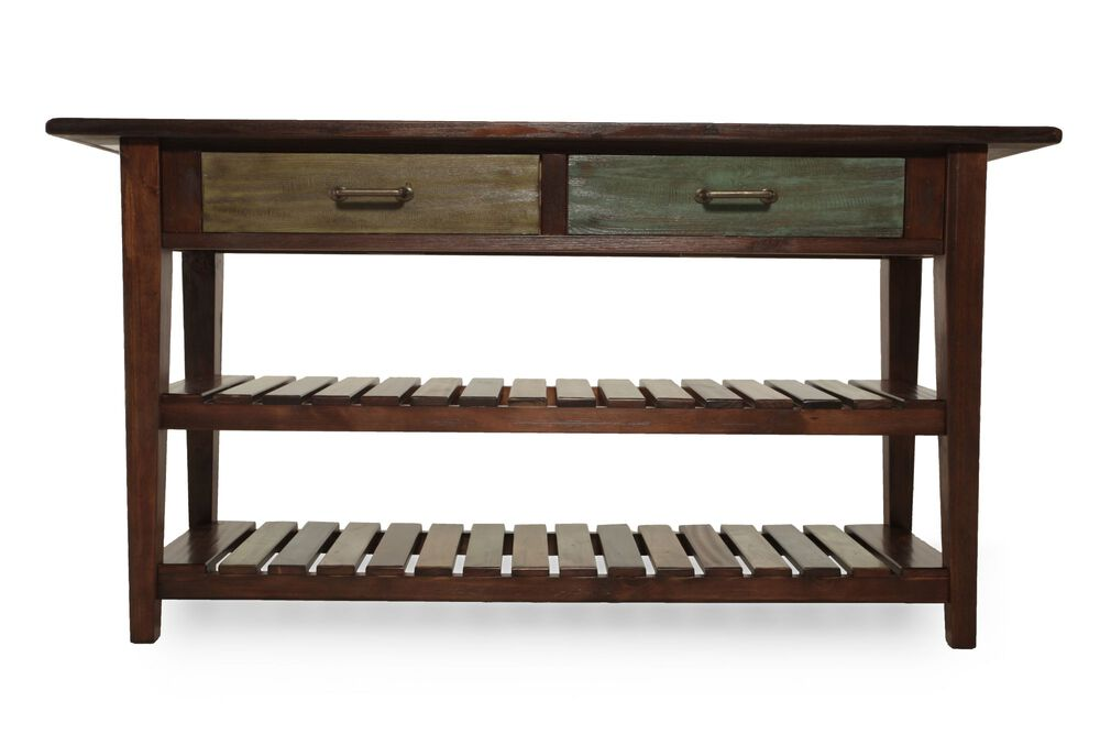 Two-Xylophone Shelf Casual Console Table in Rustic Brown