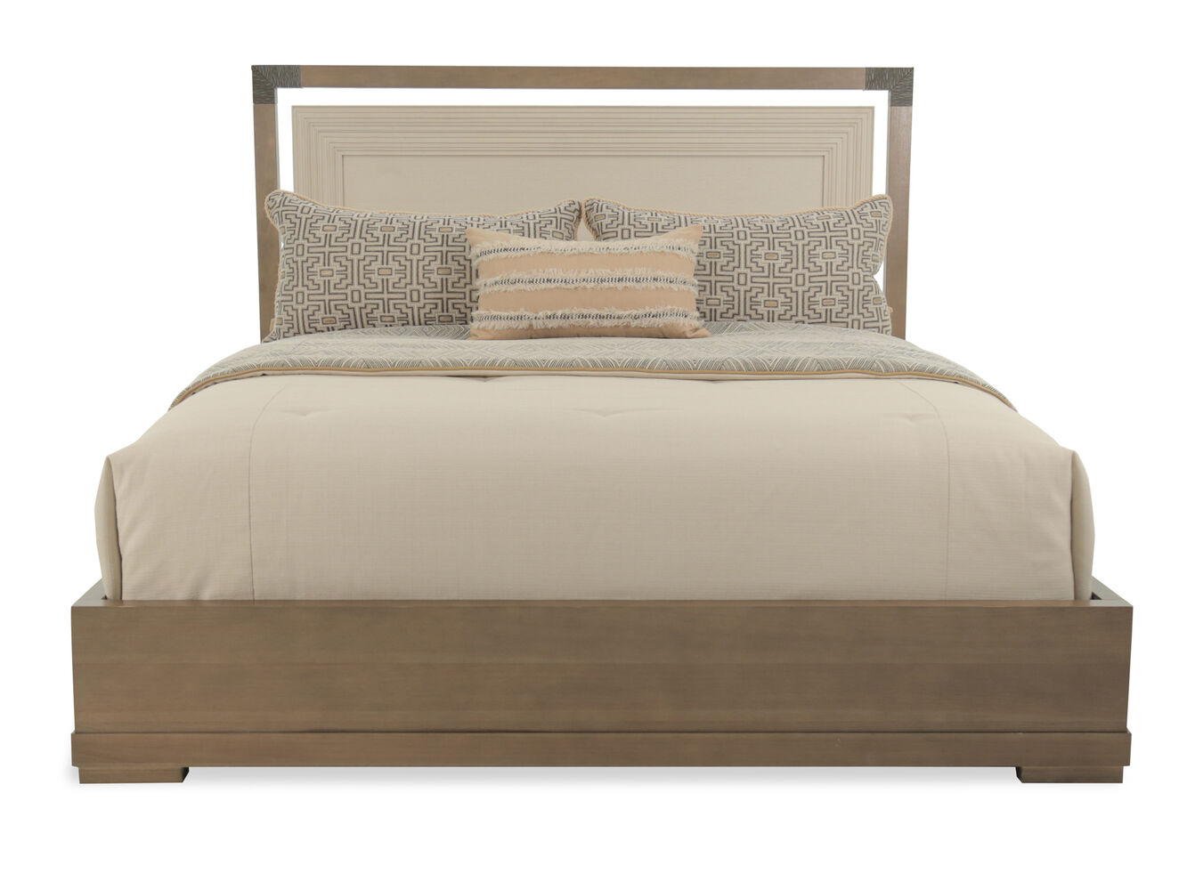 "60"" Contemporary Floater Frame Platform Bed In Hickory"