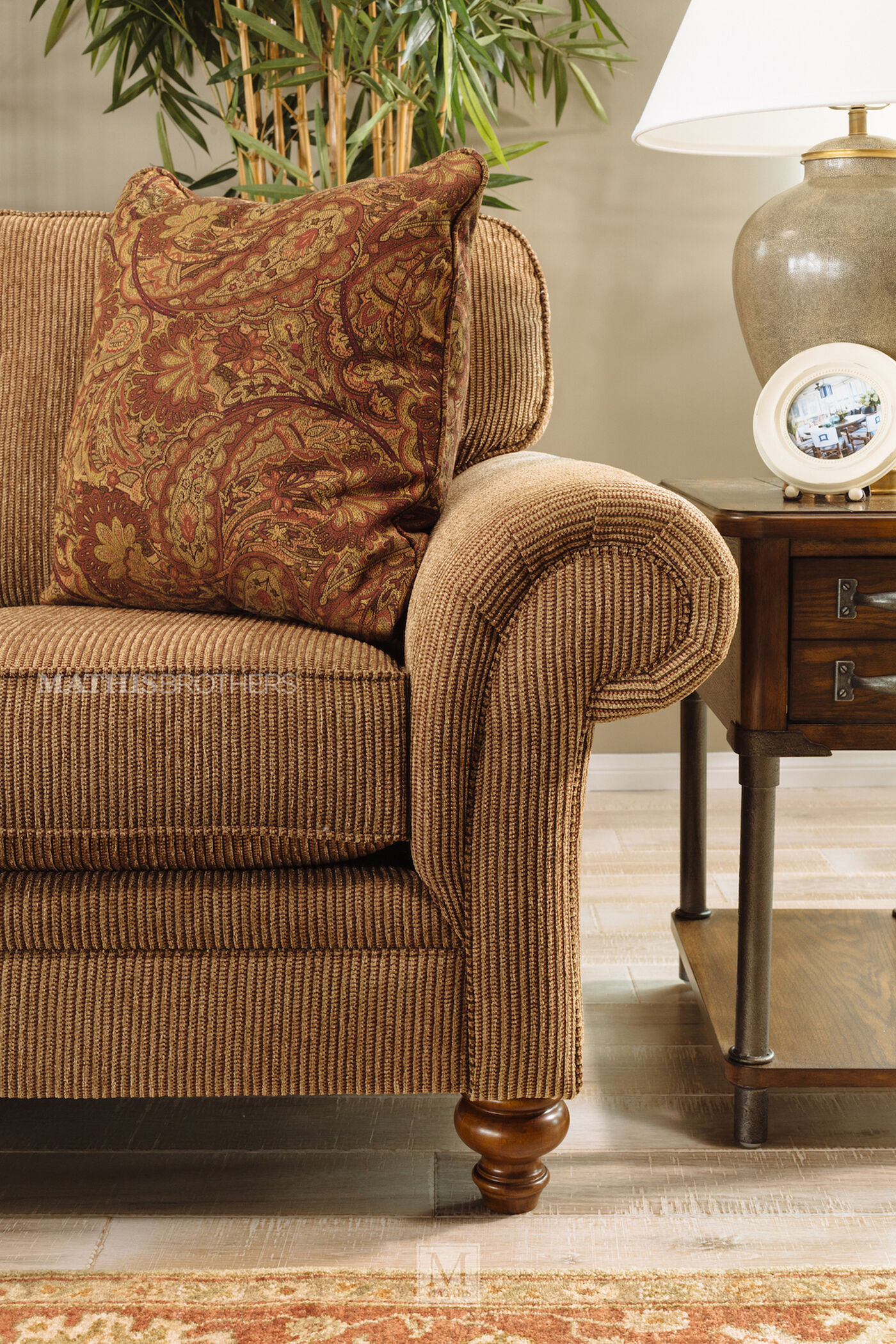 corduroy living room furniture corduroy casual 88 quot sofa in nut brown mathis brothers 15116
