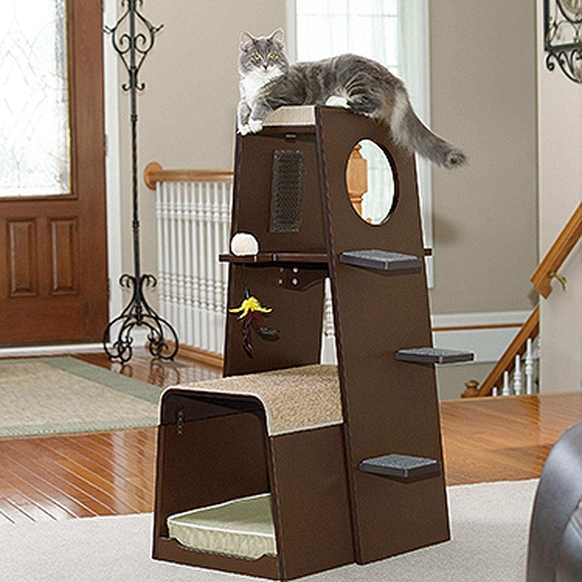 Modular modern cat tower in espresso