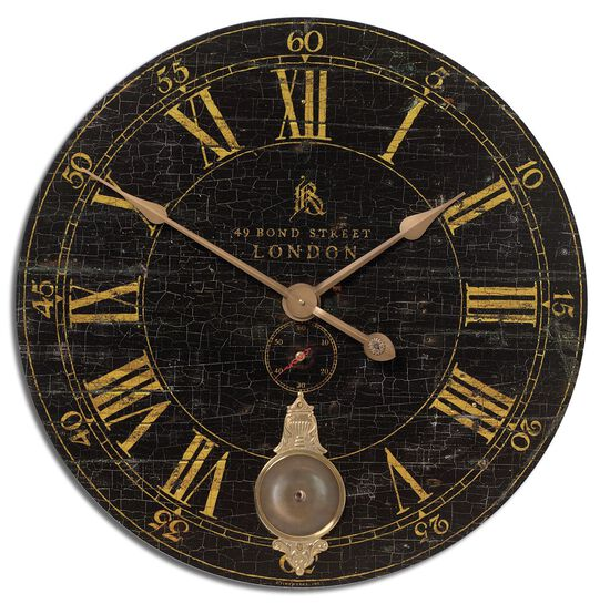 Crackled Round Wall Clock in Black