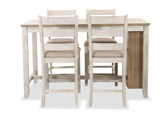 Five-Piece Casual Storage Pub Table and Barstool Set in White/Brown
