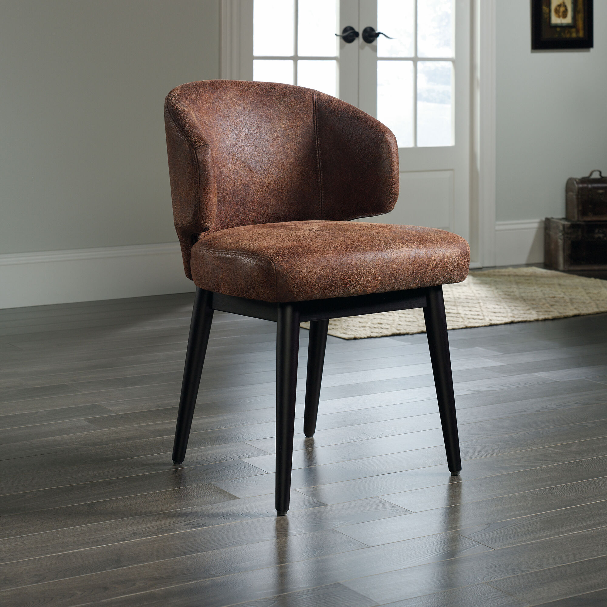 """23"""" Microfiber Armless Wingback Accent Chair In Brown"""