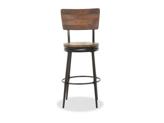 "Paneled 46"" Swivel Bar Stool in Dark Brown"